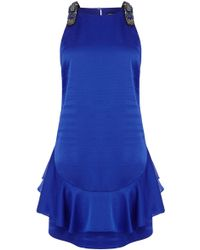 Karen Millen Peplum Hem Mini Dress With Beaded Straps blue - Lyst