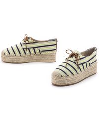 Tory Burch Lace Up Platform Espadrilles - Linen/Fluo Yellow/Tory Navy - Lyst