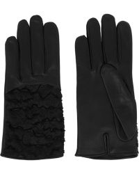 Nina Ricci Leather And Jacquard Gloves - Lyst