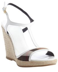 Burberry White Leather Nova Check Jute Wedge Heel Sandals - Lyst
