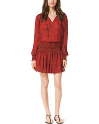 Michael Kors Printed Smock Dress - Lyst
