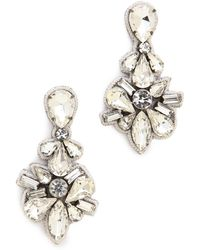 Deepa Gurnani Crystal Drop Earrings Ivory - Lyst