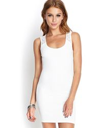 Forever 21 Lacy Cutout Bodycon Dress - Lyst