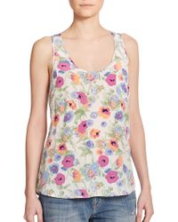 Joie Rain Floral-Print Silk Tank - Lyst