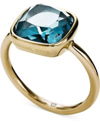 Michael Kors Gold-Tone Stainess Steel Citrine Stone Ring - Lyst