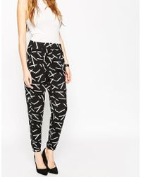 ASOS | Wrap Jersey Peg Trousers In Mono Matchstick Print | Lyst