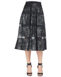 Rebecca Taylor Foiledsheer-stripe A-line Midi Skirt Blackgunmetal 0 - Lyst