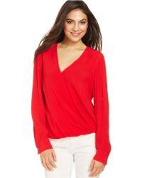 Karen Kane Crossover Shirt-Tail Top - Lyst