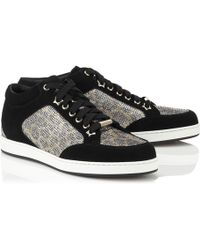 Jimmy Choo Miami Glittered Leopard-Print Mesh And Suede Sneakers gold - Lyst