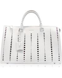 Jil Sander Large Jil Bag Open White Perforated Leather Satchel - Lyst