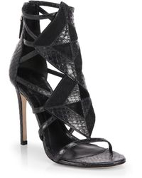 B Brian Atwood Luanna Calf Hair Embossedleather Sandals - Lyst