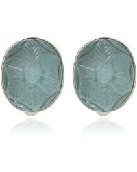 Stephen Dweck - Silver Carved Aquamarine Flower Earrings - Lyst