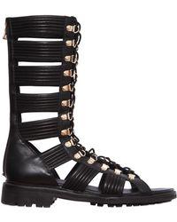Balmain Leather High Top Gladiator Sandals - Black