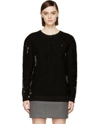 McQ by Alexander McQueen Sequin Knit Crew Neck Sweater - Lyst