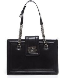 Chanel Pre-Owned Black Calfskin Small Boy Tote Bag black - Lyst