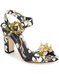 Dolce & Gabbana 'Orange Blossom' Ankle Strap Sandal - Lyst