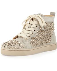Christian Louboutin Louis Spiked Suede Sneaker - Lyst