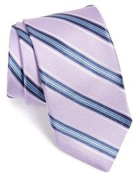 Michael Kors Stripe Silk Tie - Purple