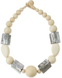 Viktoria Hayman - White Wood & Abalone Shell Necklace - Lyst