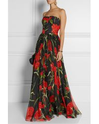 Dolce & Gabbana Printed Floral-brocade and Chiffon Gown - Lyst