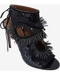 Aquazzura - Sexy Thing Studded Fringe Python Stiletto Sandal - Lyst
