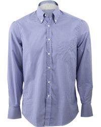 Brunello Cucinelli Checked Button Down Shirt - Lyst