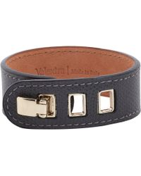 Valextra Grained Leather Bracelet - Gray