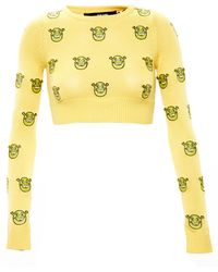 Jeremy Scott Cropped Shrek Jumper yellow - Lyst