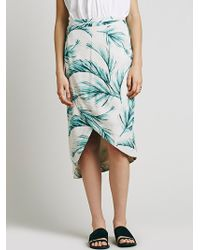 Free People Havana Print Wrap Skirt teal - Lyst