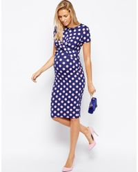 Asos Maternity Exclusive Body-conscious Dress in Polka Dot with Cross Front - Lyst