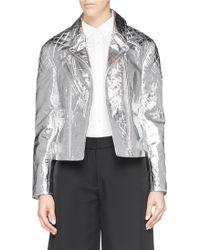 McQ by Alexander McQueen Foil Lambskin Leather Biker Jacket silver - Lyst
