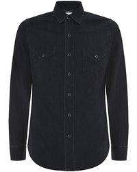 Saint Laurent Washed Denim Shirt - Lyst