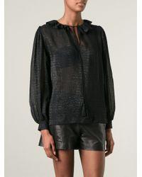 Yves Saint Laurent Vintage Sheer Lurex Blouse - Lyst