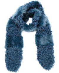 Shrimps Marnie Fur Scarf - Blue