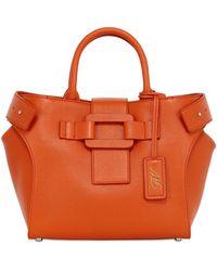 Roger Vivier Small Pilgrim De Jour Leather Bag - Orange