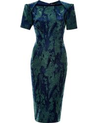Zac Posen Green Floral-jacquard Dress - Lyst