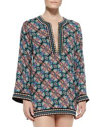 Nanette Lepore Paloma Contrast-trim Printed Tunic - Lyst