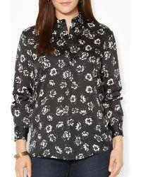 Ralph Lauren Lauren Plus Floral Print Satin Shirt - Lyst