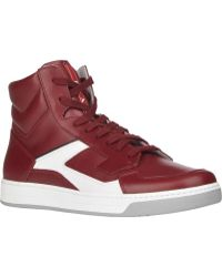 Prada Red Side-zip Sneakers - Lyst