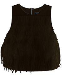 Tibi Cera Tuxedo Feather Cropped Top - Lyst