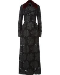 Alexander McQueen | Embroidered Coat With Mink Fur Collar - Black | Lyst