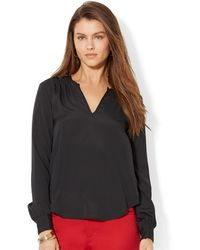 Lauren by Ralph Lauren Plus Shirred Split Neck Top - Lyst
