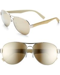 Furla Women'S 60Mm Aviator Sunglasses - Gold/ Leather/ Brown Mirror - Lyst