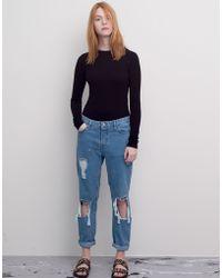 Pull&Bear Long-Sleeve Cropped T-Shirt - Lyst