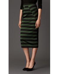 Burberry Wraparound Panel Striped Skirt - Lyst