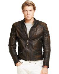 Polo Ralph Lauren Leather Café Racer Jacket - Lyst