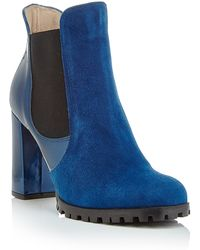 Carmelinas Carmen Ankle Boot In Marine Suede With A Metallic Heel - Blue