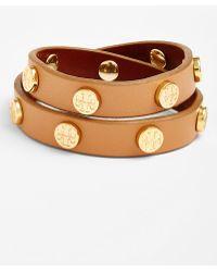 Tory Burch Double Wrap Logo Bracelet - Aged Vachetta - Lyst