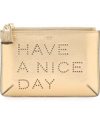 Anya Hindmarch - Have A Nice Day Loose Pocket Bag - Pale Gold - Lyst