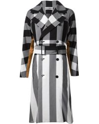 Issey Miyake Check And Stripe Trench Coat - Lyst